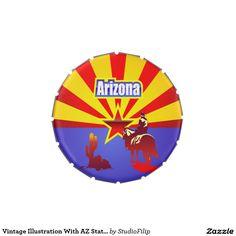 Vintage Illustration With AZ State Flag Candy Tin