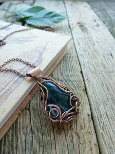 Agate copper pendant wire copper jewelry stone by UrsulaJewelry