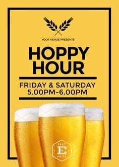 Design yourself - predesigned Hoppy Hour poster template can be updated in your browser with Easil!