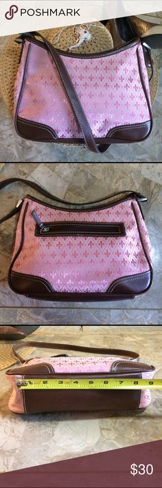 Little pink fleur de lis purse Crazy Horse by Liz Claiborne. This shiny pink purse sports fleur de lis. It is cotton and polyester. As shown in the photos the inside has a few small stains. Make me an offer! Liz Claiborne Bags Shoulder Bags