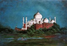 The Taj Mahal by Usha Shantharam Taj Mahal, December, Greeting Cards, Wall Art, Paintings, Paint, Painting Art, Painting, Portrait