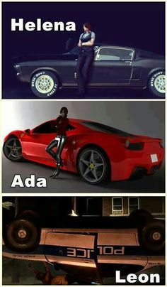 resident evil. Yesssss I've always headcanon Ada to own a car like that. And I love Helena car ♡