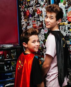 Brandon rowland and his little brother Ashton rocking there super hero capes❤️✌