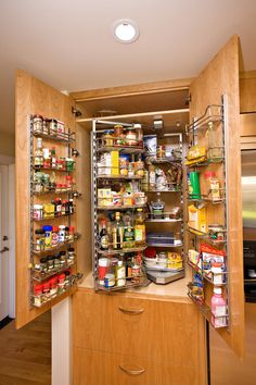 "Deep cabinet organizer. This pullout pantry organizer, paired with cabinet door racks, is a favorite for 70,000 users. ""Many of our clients don't have room for a walk-in pantry,"" says Rhoda Fry, CFO at Bill Fry Construction. ""Having storage on the doors and inside keeps everything organized and within easy reach."""