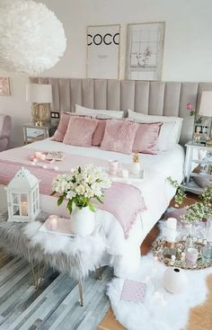 45 Beautiful and Modern Bedroom Decorating Ideas for This Year Page 2 of 45 Schlafzimmer Cute Bedroom Ideas, Cute Room Decor, Girl Bedroom Designs, Room Ideas Bedroom, Bedroom Furniture, Bedroom Ideas For Women, Furniture Sets, Furniture Stores, Budget Bedroom