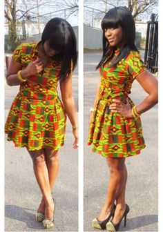 African Dresses Ankara Short Gown ~African fashion, Ankara, kitenge, African women dresses, African prints, Braids, Nigerian wedding, Ghanaian fashion, African wedding ~DKK