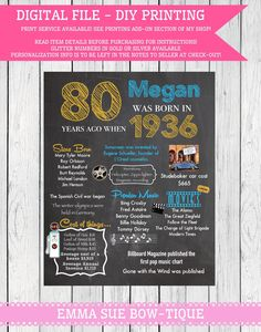 1936: 80th Personalized Birthday Chalkboard Sign -**Digital File** DIY PRINTING! (1936-clipart) by EmmaSueBowtique on Etsy https://www.etsy.com/listing/240582849/1936-80th-personalized-birthday