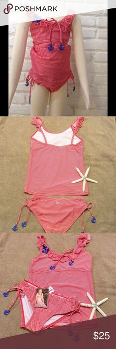 Anchors Away Tankini Swimsuit Set This cute set comes with a red and white striped print Tankini top,that features sweet flutter shoulders. Sequined anchor appliqué on the top, along with plastic anchor accents on the tie. Matching bottoms are full coverage, and have rouched sides with functional ties and anchor detail. Available in size 8,10,12. 2Chillies Swim Bikinis