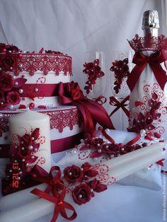 """Купить Свадебный комплект """"Бордо"""" - бордовый, свадебные аксессуары, свадебные бокалы, казна свадебная"""