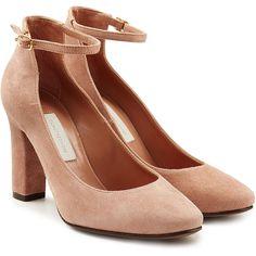 55 Ideas Heels Pink Chunky For 2019 Beige Pumps, Beige Shoes, Pink Pumps, Suede Pumps, Chunky Heel Shoes, Ankle Strap Shoes, Socks And Heels, Shoes Heels Wedges, Low Heels