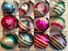12-lot-Vintage-SHINYBRITE-Large-Stripe-Balls-UFO-Ribbed-Double-Indents-Snow-Caps