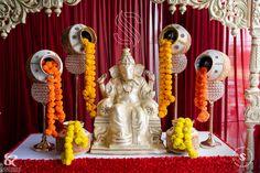 Ganpati Decoration Theme, Gauri Decoration, Ganapati Decoration, Diy Diwali Decorations, Backdrop Decorations, Festival Decorations, Flower Decorations, Diy Crafts For Home Decor, Easy Home Decor