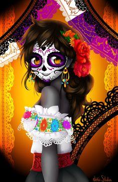 La Catrina by alenekoi by alenekoi on DeviantArt Los Muertos Tattoo, Sugar Skull Artwork, Day Of The Dead Artwork, Arte Fashion, Candy Skulls, Sugar Skulls, Fantasias Halloween, Sugar Skull Tattoos, Chicano Art