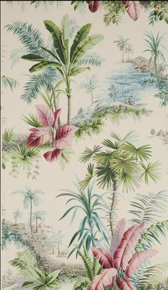 Begonia wallpaper. Hollywood regency - palm beach vintage.