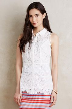 Eyelet Sleeveless Blouse - anthropologie.com: I love the eyelet lace on this top. It's a pretty basic top, but I love details like this.
