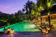 Bali best pools will be found in Ubud, where infinity pools are overlooking stunning river valleys and rice fields. A must-do in Bali! Ubud Hotels, Infinity Pools, Swimming Pool Photos, Swimming Pools, Fish Pool, Tropical Pool, Resort Villa, Cool Pools, Good Night Sleep