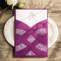 elegant purple and silver laser cut foil stamped wedding invitations EWWS109