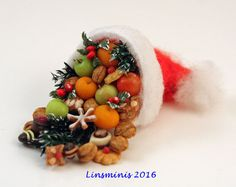 12th scale handmade miniature Filled Santa Hat by linsminis