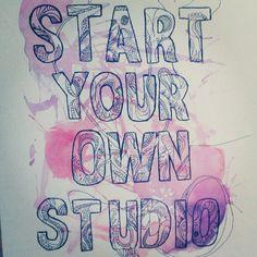'Start your own studio' illustration in Ecoline & Fineliner made by Elle .