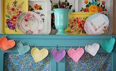 Love these crochet hearts.
