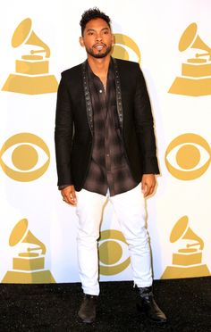 Miguel wears Saint Laurent Studded Leather Shawl Lapel Blazer at Grammy Nominations Concert | UpscaleHype