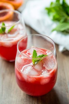 This Blood Orange Mint Spritzer is easy to put together and such a refreshing drink to have on hand. via @megdenea