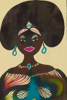 Chris Ofili Untitled from Afro Muses 1995 2005 portrait of a black woman with a large afro and wearing blue earrings and multi coloured traditional dress Illustrations, Illustration Art, Chris Ofili, African Art, African Masks, Afro Art, Beauty Art, Woman Painting, Black Art