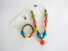Handmade Felt Necklace and Bracelet Set of by GuestFromThePast
