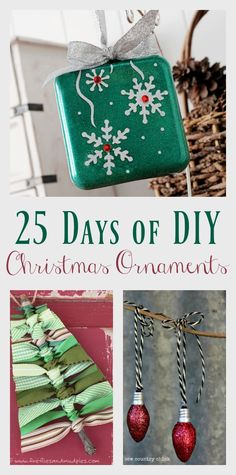 You can make your own ornaments - 25 of them to be exact! 25 Days of DIY Christmas Ornaments has the cutest ornaments that you can make for yourself or for that special someone. Click the pic to see them all or save for later.