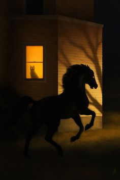dappermouth: There's a shivering light on the street tonight, strange shadows on the lawn–a black horse running in the grass and vanishing at dawn. Black Horses, Wow Art, Grid Design, Buy Prints, American Artists, Dark Art, Unique Art, Fantasy Art, Illustration Art