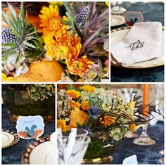 blues and copper for Thanksgiving decor