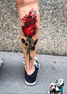 Rose leg tattoo