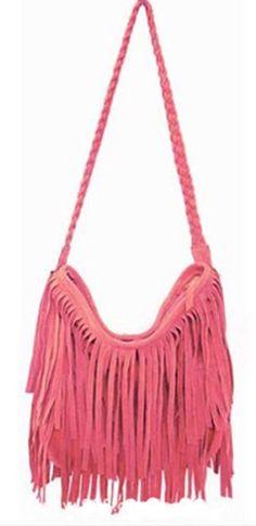 THG rot Fransen Damentasche Troddelbeutel Handtaschen Umhängetasche Fringe bag