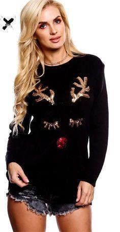 Black Christmas Reindeer Face Sequined O-neck Full Sleeve Regular Sweater Black Christmas, Diy Ugly Christmas Sweater, Ugly Sweater Party, Cute Christmas Shirts, Xmas Sweaters, Christmas Clothes, Reindeer Christmas, Womens Ugly Christmas Sweater, Christmas Nails