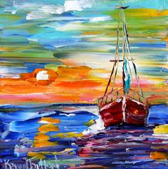 Original oil painting Sunset Sail Boat palette by Karensfineart