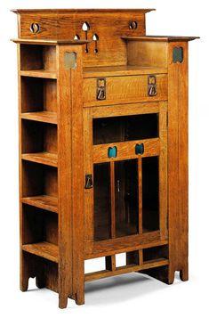 An Arts & Crafts oak display cabinet/bookcase circa 1900 with pierced motifs and glass insets Craftsman Furniture, Wood Furniture, Antique Furniture, Outdoor Furniture, Modern Furniture, Furniture Ideas, Furniture Layout, Furniture Stores, Geek Furniture