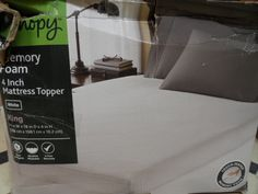 MEMORY FOAM MATTRESS TOPPER.KING SIZE. WHITE. 4 INCH.CANOPY. NEW IN BOX