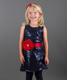 Another great find on #zulily! Navy Holiday Shift Dress - Toddler & Girls by Mia Belle Baby #zulilyfinds