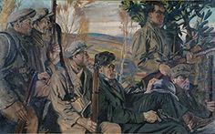 Seán Keating - Men of the South, The Crawford Art Gallery, Cork, Ireland Men of the South which shows a group of IRA men ready to ambush a military vehicle. The Irish War of Independence (Irish: Cogadh na or Anglo-Irish. Irish Independence, Cork City, Irish Roots, Irish Art, Figure Painting, Dark Art, Oil On Canvas, Art Gallery, Opera