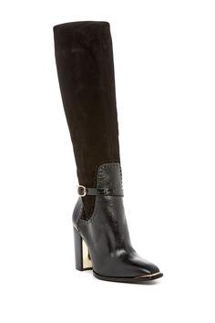 Classic Black Rachel Zoe Brin Embossed Boot