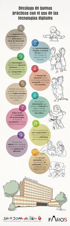 Infografía que resume, a modo de decálogo, las 10 mejores prácticas a la hora de guiar a los menores en el uso de las tecnologías digitales. Content Marketing, Social Media, Twitter, Tic Tac, Literacy, Facebook, Learning, School, Google
