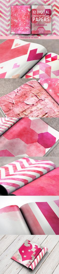 Check out Watercolor Valentines Digital Papers by Creativeqube Design on Creative Market