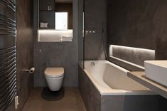 Talbot Road, Notting Hill by Ardesia Design. Atmospheric Bathroom finished in polished plaster with LED lighting effects. Family Bathroom, Master Bathroom, Bathroom Interior, Modern Bathroom, Polished Plaster, Bathroom Images, Bathroom Designs, Throne Room, Towel Rail