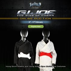 There's not long until the #GIJoeAuction is here, with over 270 oringinal props and costumes used in the production of G.I.Joe: The Rise Of Cobra! One of our first #FeaturedItems to whet your appetite is Young Storm Shadow and Young Snake Eyes Martial Arts Costumes!    REGISTER NOW:http://ow.ly/Rv1G3087Es1  #StormShadow #SnakeEyes #MartialArts #GIJoe #GIJoeTheRiseOfCobra #Costume #FeaturedItem #PropStore