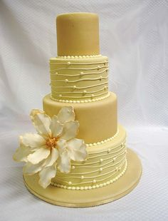 Magnolia Marzipan Wedding Cake