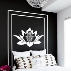 Fatima Hand Wall Decal Hamsa Lotus Flower Decals por CozyDecal
