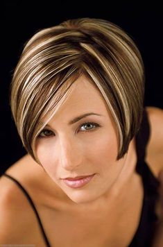 New Ideas Hair Color Blonde Streaks Short Haircuts, Blonde Streaks, Brown Hair With Blonde Highlights, Hair Color Highlights, Blonde Color, Short Hairstyles For Women, Bob Hairstyles, Haircuts, Latest Hairstyles, Balayage Hair