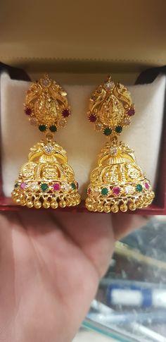 Ashtalakshmi  jhumki 15 grams @SHAGUN JEWELLERS ALWAL Diamond Earrings Indian, Gold Jhumka Earrings, Jewelry Design Earrings, Gold Earrings Designs, Gold Jewellery Design, Gold Jewelry Simple, Gold Rings Jewelry, Gold Buttalu, Gold Mangalsutra Designs