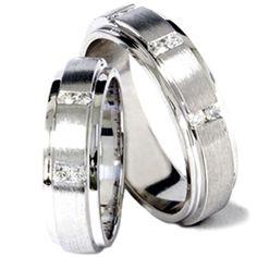 His Hers Brushed Diamond Wedding Ring White Gold Set, Adult Unisex