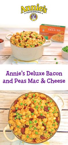 Need a yummy dinner ASAP? Click to grab recipes like this Annie's Deluxe Bacon & Peas Mac and Cheese!